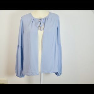 Karl LAGERFELD Medium Blue Sheer Cardigan Blouse